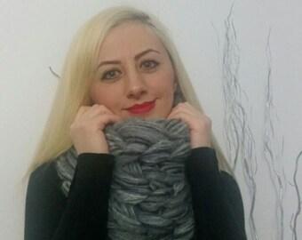 Chunky knit scarf, Super chunky infinity scarf, Grızzley grey, Super bulky scarf, Mohair scarf, Knit scarf. Oversized scarf, Cowl scarf