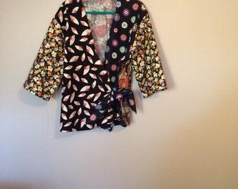 Asian style kimono wrap top tunic handmade patchwork