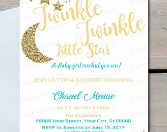Twinkle Twinkle Little Star Baby Shower Invitations,Any Color, 5x7, Printed or Digital File