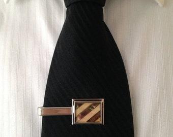 tie clip, vintage tie clip, brown retro tie clip, tie tack