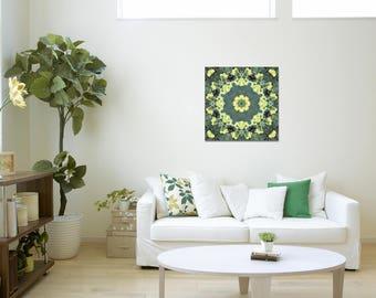 Yellow Green Mandala Art ~ Print on Canvas ~ Modern Wall Art ~ Feng Shui Home Decor ~ Nature Photography ~ Sacred Mandala Creations