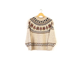 Vintage Americana sweater / Decorative wool sweater / Icelandic style wool sweater / Small wool pullover sweater / Knit patterned sweater