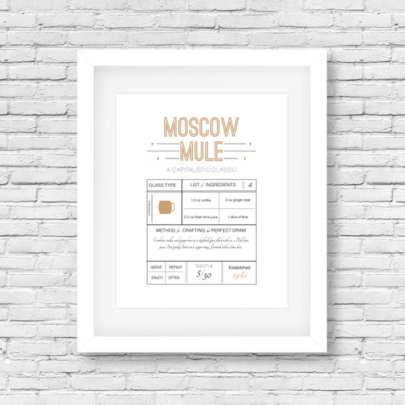 Moscow Mule-drink recipe print recipe printable typography