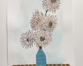 Original Ink Drawing and Collage - Wildflower Art