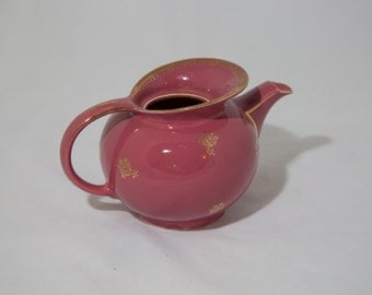 Vintage Hall Maroon and Gold Ceramic Teapot