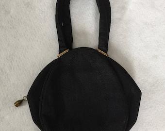1940's Black Corded Handbag by Guild