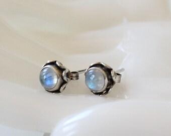 Vintage Moonstone and Sterling Silver Stud Earrings