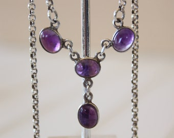 Vintage Genuine Amethyst and Sterling Silver Lavalier Necklace