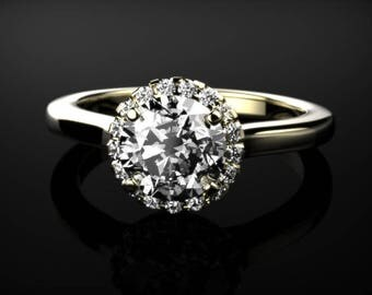 White Sapphire Engagement Ring Yellow Gold White Sapphire Ring Yellow Gold Ring White Sapphire Ring Diamond Alternative Yellow Gold