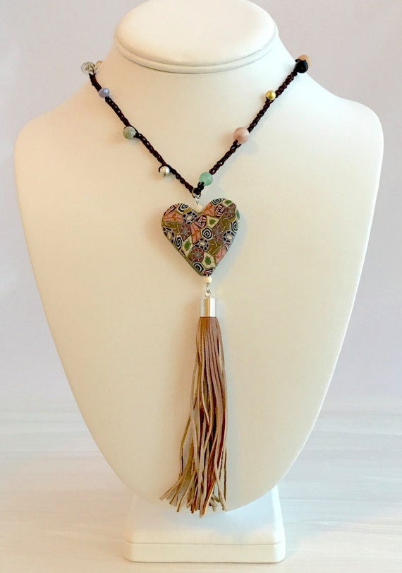 Heart pendant, polymer clay, leather tassel, hand crocheted, beaded necklace