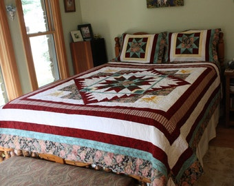 Queen Sized Quilt, Hand made quilts, Red and Black Quilt, Unique Queen Quilt, Handmade Quilts, Hand-made Quilt, Quilted Queen Blanket