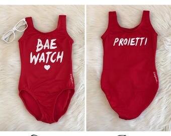BAE WATCH glitter Red Leotard with Custom Name in Back / Flutter / short / long sleeve / tank / sleeveless / Beach / Baywatch inspired