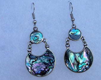 Dangling Moon abalone and silver earrings!
