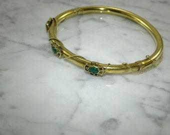 14K Gold / Chrysophrase Bangle Bracelet