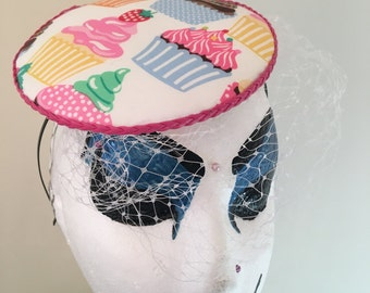Cup Cake fancy netting birdcage veil Fascinator