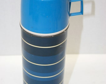Blue Striped Thermos//Made by King-Seeley Thermos Co.//Vintage Thermos