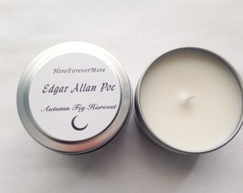 4oz Edgar Allan Poe Soy Candle // Autumn Fig Harvest // Stocking Stuffer