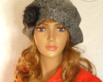 Women's winter hat, Women's gray beret, Warm hat, Gray beret, Women's gray hat, Warm beret, Women beret, Black gray