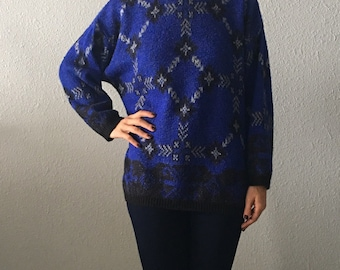 Vintage United Colors Of Benetton Southwestern Print Turtleneck Sweater