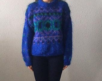 Vintage Fuzzy Knit Purple Southwestern Print Oversized Sweater