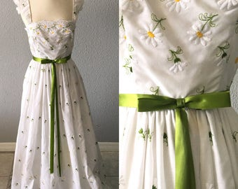 1970's Embroidered Floral White Vintage 70's Hippie Maxi Dress By Mike Benet Formals