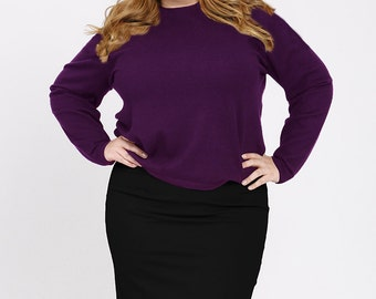 OLIVIA Plus Size Pencil Skirt, Curvy Career wear, Ponte Stretch Knit, Slimming Straight Skirt