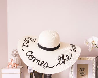 IVORY COLOR Hat, Customized, personalized Sun Hat, any words