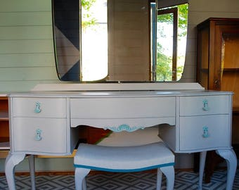 SOLD * Pretty dressing table and stool, bespoke hand painted, made to order, grey and teal, lined drawers, Queen Anne legs