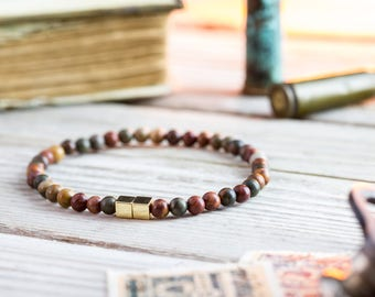 4mm - Picasso jasper beaded stretchy bracelet with gold cube beads, made to order mens beaded bracelet,mens bracelet, womens bracelet