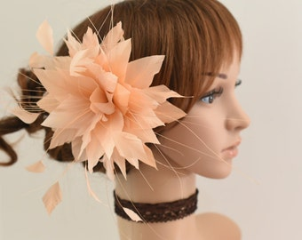 Wedding Fascinator, Bridal Hair Comb,Wedding Hair Comb,Feather Flower Comb Fascinator 13A (Peach)