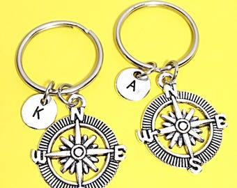 Silver, Compass, Keychain Gift, Personalized Compass, Custom Keychain, Compass Keychain, Friend distance keychain, matching keychains, BFF