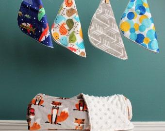 Baby Shower Gift Set, Cuddle Blanket, 4 washcloths, Baby Shower Gift, Minky Blanket, Minky Washcloths
