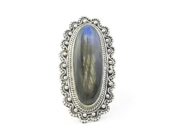Nightfall Ring, LARGE Sterling Silver Labradorite Ring, Statement Piece, Gemstone Jewelry, Boho, Gypsy, Hippie, Spiritual