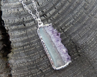 Amethyst Druzy Slice Rhodium Necklace Drusy Crystal Quartz Agate Pendant Jewelry Sterling Silver Free Shipping