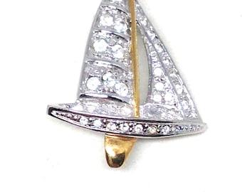 Vintage Estate Signed Roman Sail Boat Ocean Lake Silver Tone Jewelry Brooch