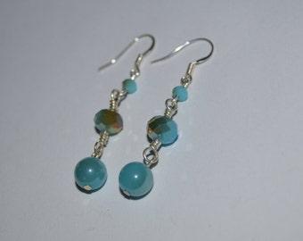 Earrings, handmade aqua blue silver earrings