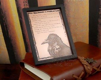 Copper ACEO, copper ATC, copper plaque, The Raven, Nevermore, Raven Verse, Edgar Allan Poe quote, copper art, copper collectable, gothic art