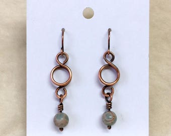 Wire Earrings, Aqua Terra Jasper, African Opal, Copper Wire Jewelry, Copper, Ready To Ship,Most Sold Item, ArizonaCopperCraft, FREE SHIPPING