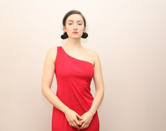 VTG Red Sparkle-Drizzled One Shoulder Gown