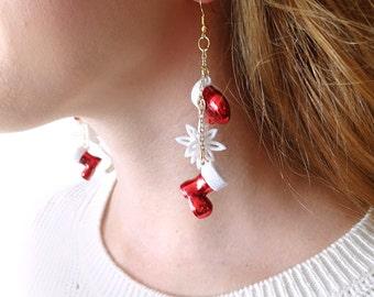christmas earrings, dangle earrings, santa earrings, mitten earrings, red Christmas earrings, Christmas jewelry, gift for coworker, gift her
