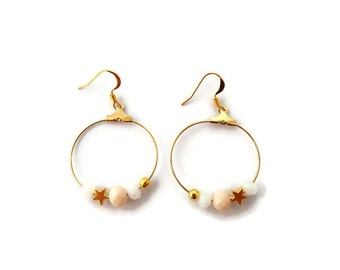 Golden earrings star and pearls