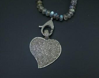 Pave Diamond Heart Pendant with Gold vermeil Contrast - 925 Sterling Silver - Pave diamond pendant - Pave Jewellery