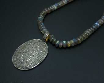 Pave Diamond Oval SPARKLY Pendant with Gold vermeil Contrast - 925 Sterling Silver - Pave diamond pendant - Pave Necklace