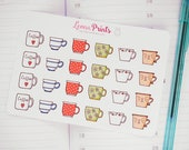 Small Vintage Coffee Cups / Tea cups Planner Stickers | Stationery for Erin Condren, Filofax, Kikki K and scrapbooking