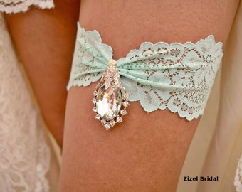 Mint Wedding Garter, Garter, Lace Garter, Crystal Garters, Garter Mint, Wedding Clothing, Green Garters, Wedding Garter, Bridal Garter Set
