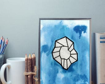 Abstract object on watercolor background | Print