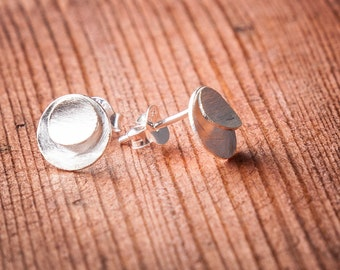 925 Sterling Silver Double Disc Brushed Silver Stud Earrings