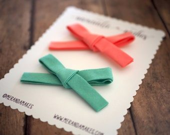 Mint and Coral Hair Bows Set of 2, Hand-Tied Schoolgirl Bow in Aqua Blue & Pink Cotton Fabric, Clip or Nylon Headband, Girl Baby Shower Gift