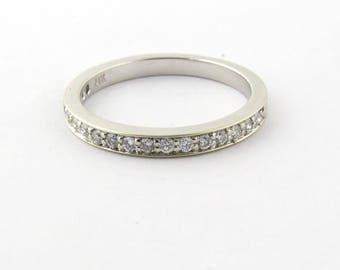 Vintage 14k White Gold Diamond Half Eternity Band Size 4.25 #845