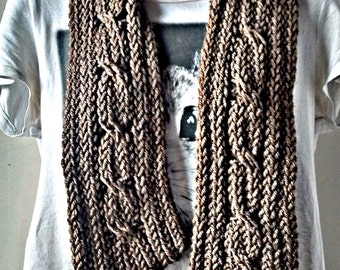 SALE - Brown cable scarf, hipster scarf, ladies scarf, men's scarf, knitted scarf, cable scarf, brown scarf, knit scarves, boho scarf, cable